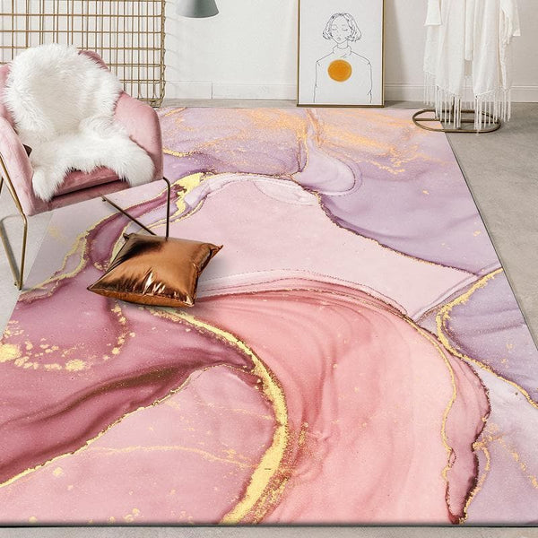 Abstract Watercolor Pink Large Carpet for Living Room Bedroom Modern Nordic Quality Soft Bedside Area Rug Kid Play Mat Purple - FLJ CORPORATIONS