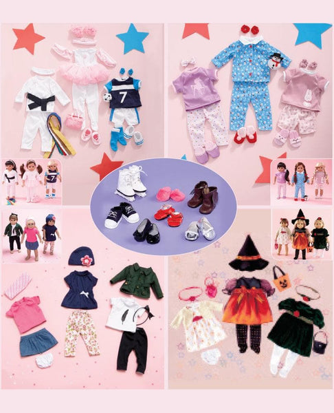 "Sets of 3 18"" Doll Outfits or Shoe Set - FLJ CORPORATIONS"