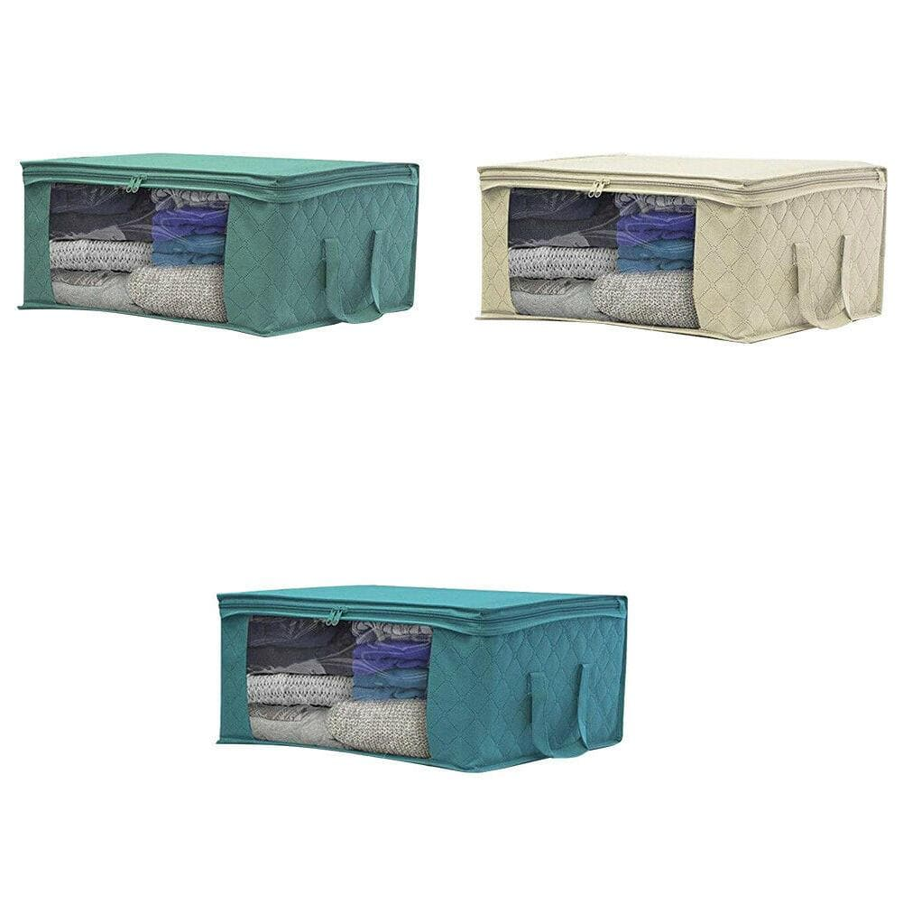 Non-woven Space Saver Clothes Quilt Blanket Storage Bag Box Organizer Portable - Blue - FLJ CORPORATIONS