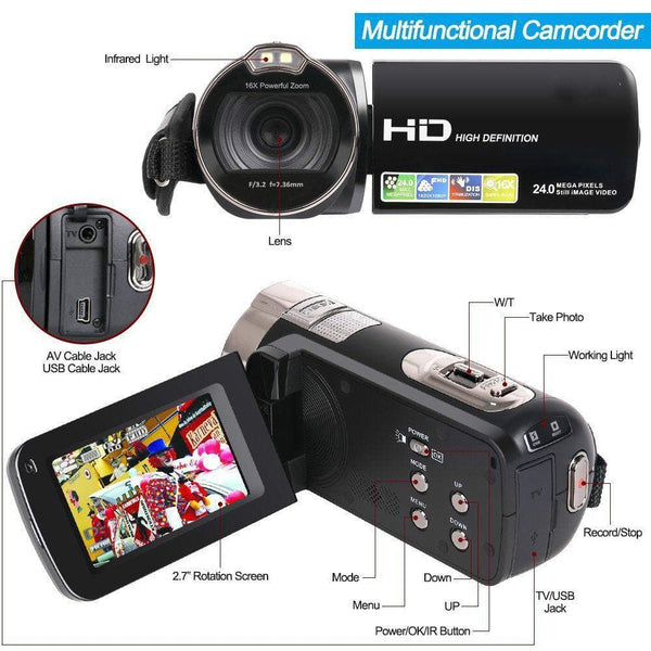 Tagital Camera Camcorder, HD 1080P 24 MP 16X Digital Zoom Video Camcorder with LCD and 270 Degree Rotation Screen - FLJ CORPORATIONS