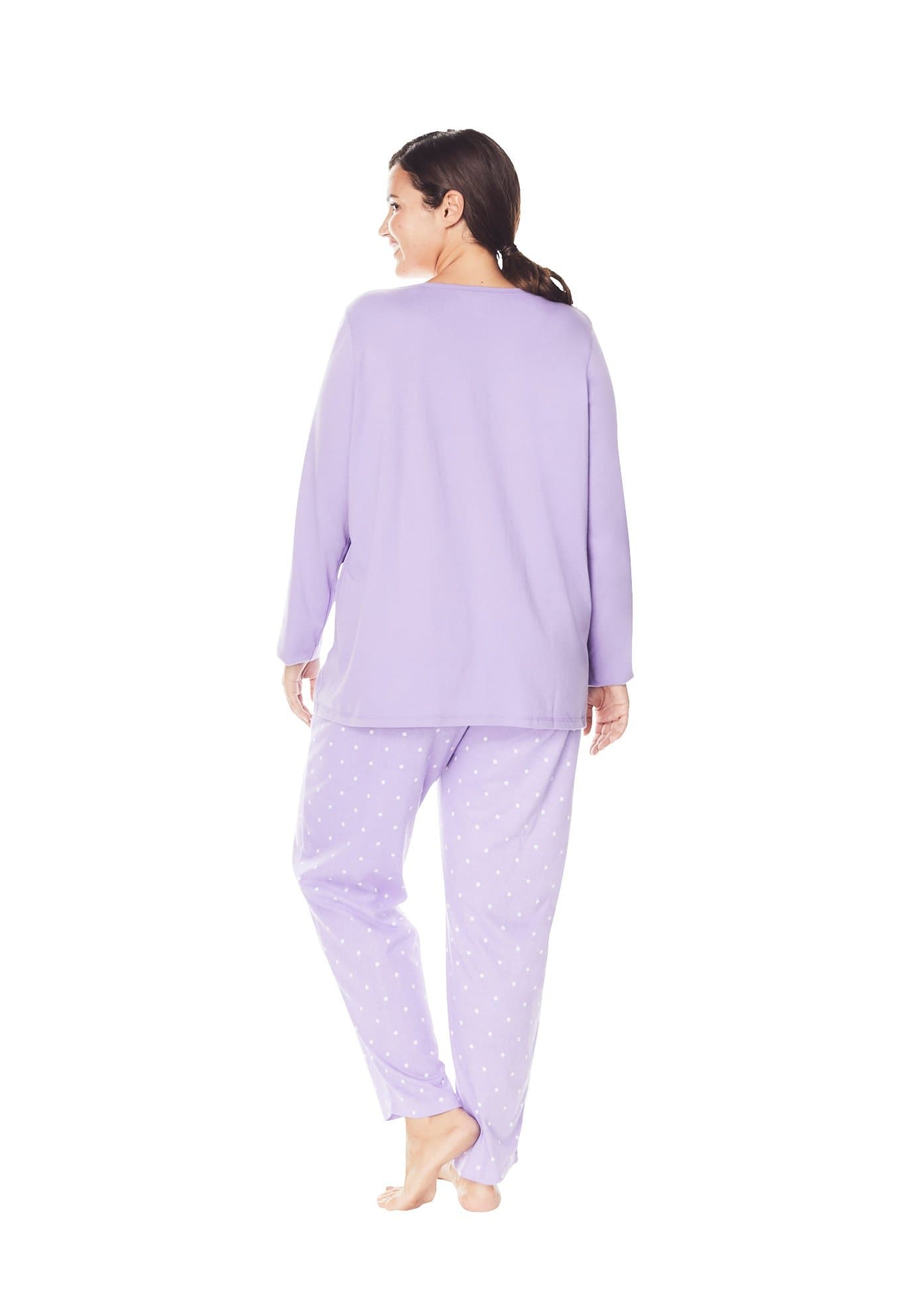 Dreams & Co. Women's Plus Size Long Sleeve Knit PJ Set - FLJ CORPORATIONS