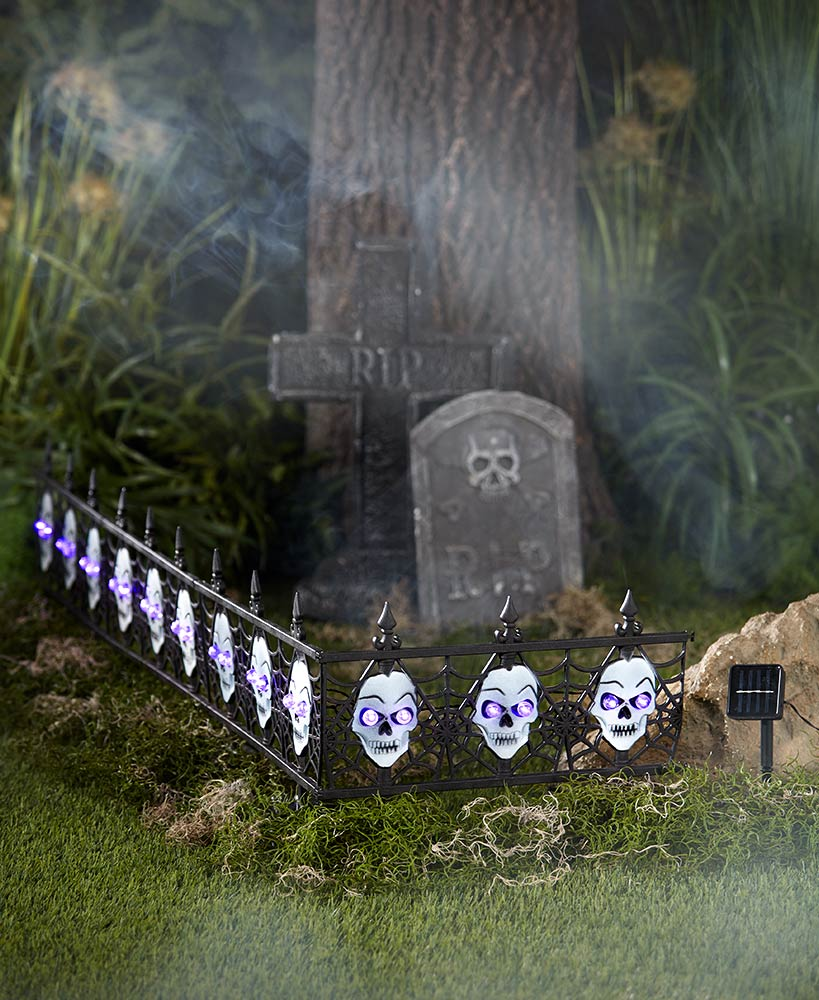 4-Pc. Solar Lighted Skull Fence - FLJ CORPORATIONS
