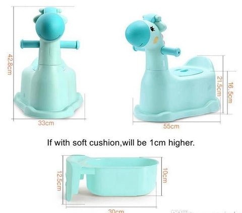 Cartoon Deer Design Baby Potty Portable Kids Training Toilet with Wheels Baby Toy Car for Boys and Girls