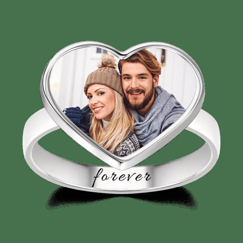 Women's Heart Photo Ring With Engraving Silver - FLJ CORPORATIONS