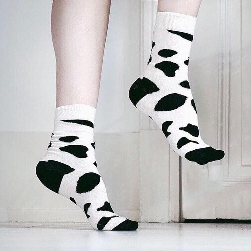 Leopard Dalmatian Black White Cotton Crew Socks - FLJ CORPORATIONS