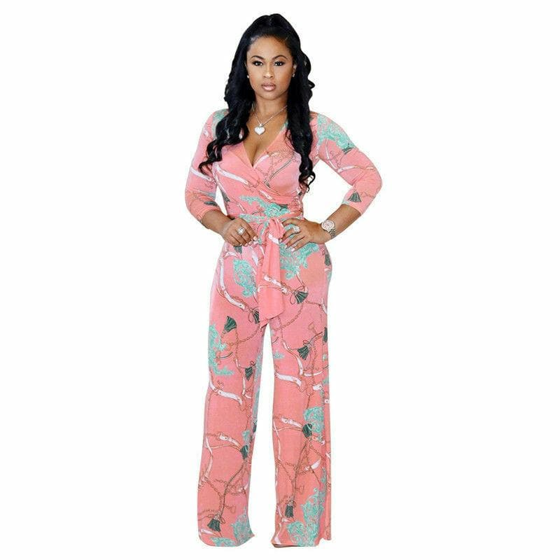 Floral V-Neck Long Sleeve Jumpsuit - FLJ CORPORATIONS