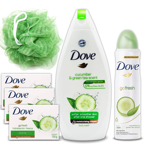 Dove Go Fresh Gift Pack: 17 Oz Cucumber And Green Tea Scent Shower Gel Body Wash, 5 Oz Dove AntiPerspirant Deodorant Spray For Women, 3 Pack 4.75 Oz Beauty Bar Soap, Green Loofah Bath Sponge Puff - FLJ CORPORATIONS