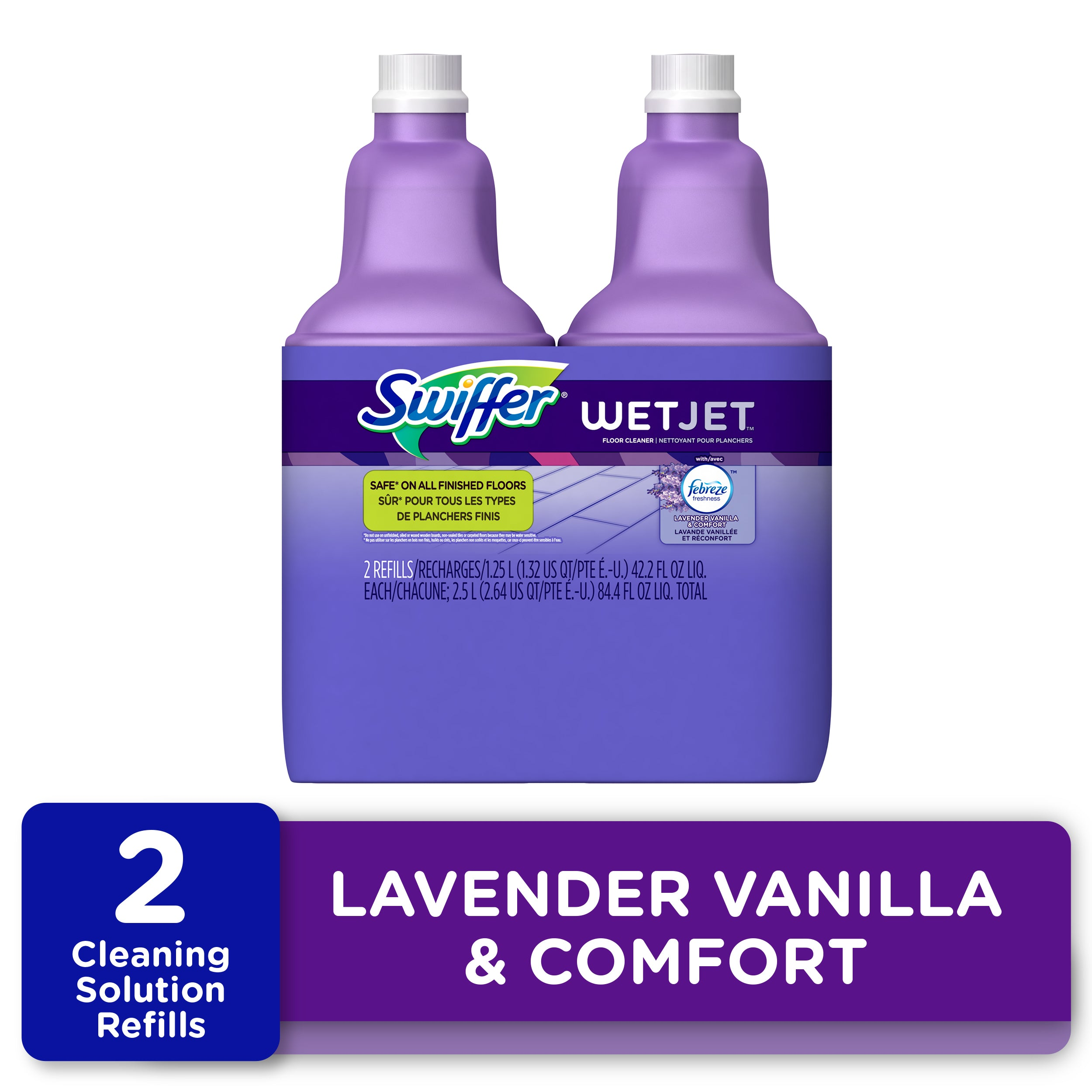 Swiffer WetJet Floor Cleaner Solution Refill, Lavender Scent, 2 Ct - FLJ CORPORATIONS