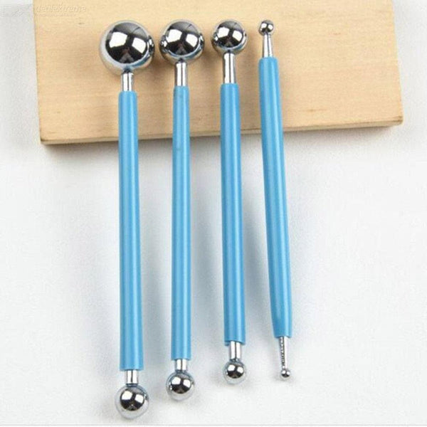 4pcs/set DIY Stainless Steel Ball Fondant Decorating Modelling Tools 8 Heads Pen for Sugar Flower Baking Cake Pastry Tools - FLJ CORPORATIONS