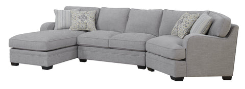Emerald Home Analiese Linen Gray Sectional, with Pillows, Track Arms, Welt Seaming, And Block Feet