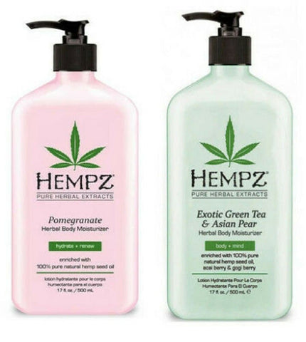 Hempz GREEN TEA & ASIAN PEAR Body Moisturizer 17oz & POMEGRANATE Lotion 17 oz - FLJ CORPORATIONS