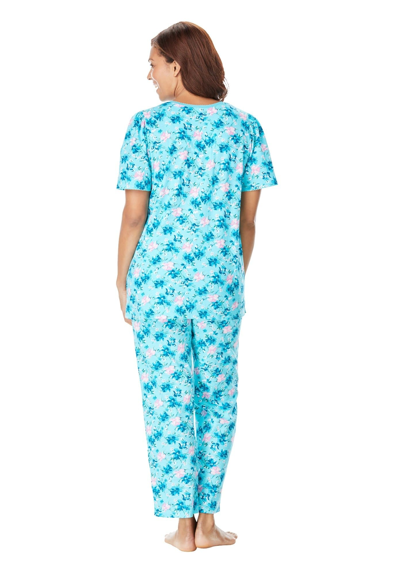 Plus Size Floral Henley Sleepwear - FLJ CORPORATIONS