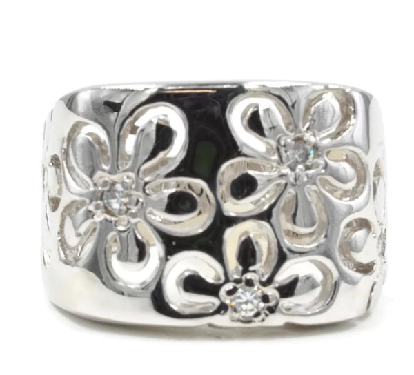Bold Cutout Daisy Silvertone Fashion Ring with Tiny Cubic Zirconia - FLJ CORPORATIONS