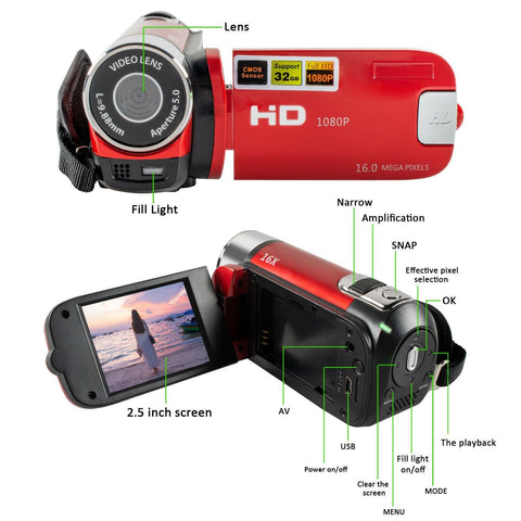 Mignova 1080P HD Camcorder Digital Video Camera 16x Zoom Digital Video Camera Recorder?Red? - FLJ CORPORATIONS