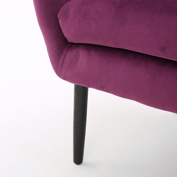 Noble House Simon Fuchsia Velvet Arm Accent Chair - FLJ CORPORATIONS