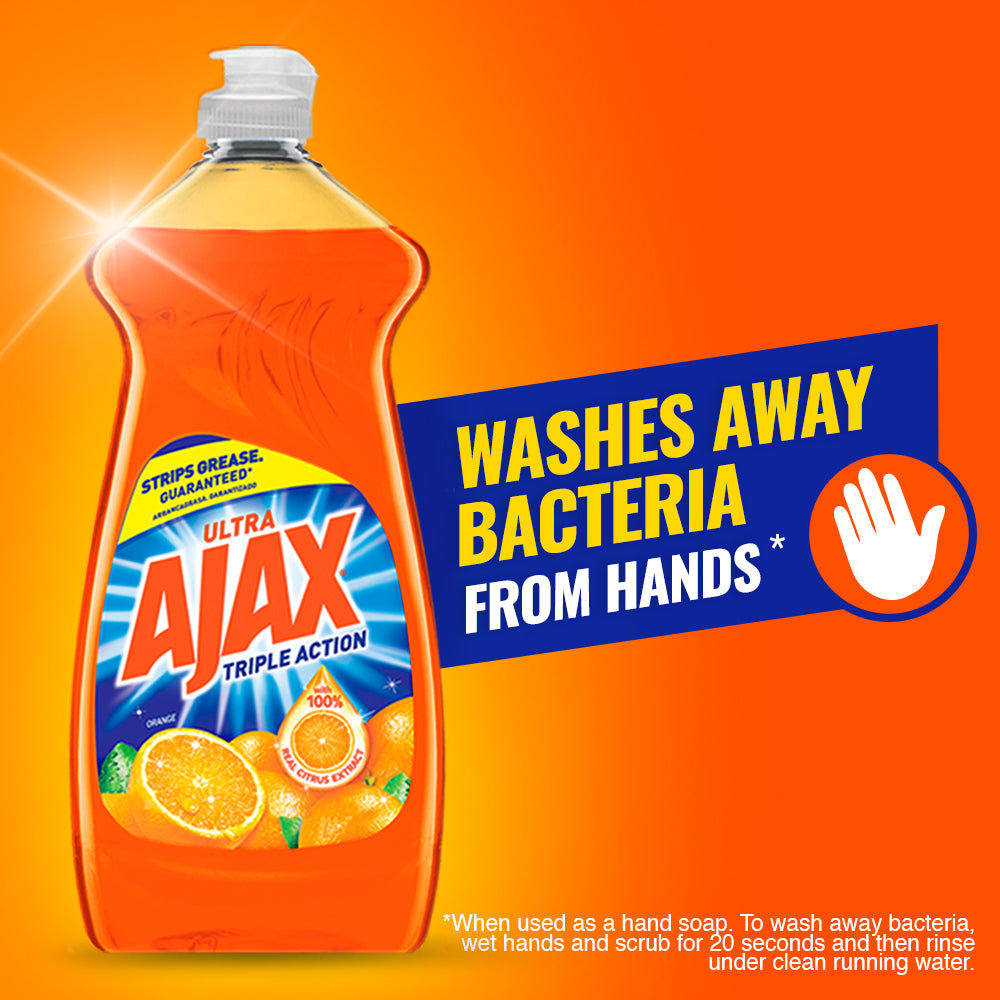 Ajax Ultra Triple Action Liquid Dish Soap, Orange - 28 fluid ounce - FLJ CORPORATIONS
