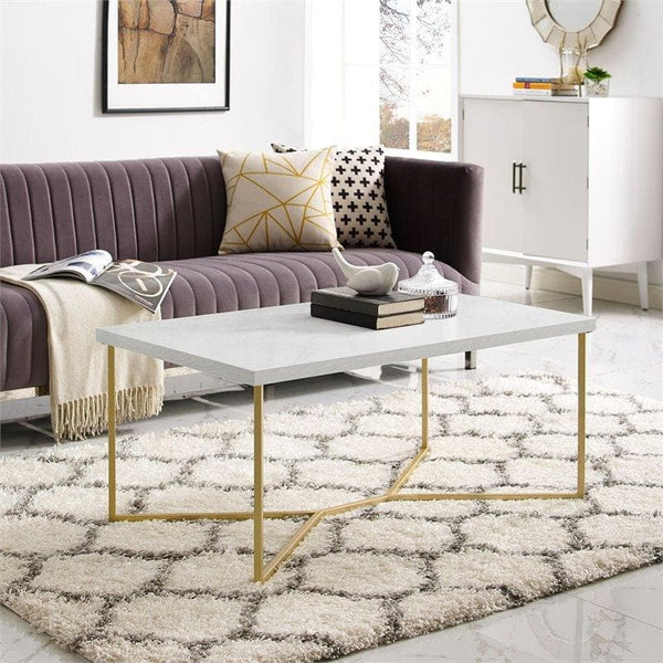 Rectangle Coffee Table with White Faux-Marble Top and Gold Base - FLJ CORPORATIONS