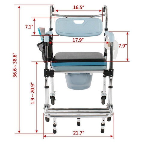 4 in 1 Multifunctional Toilet chair Commode Chair Bath Chair Aluminum Elder People Disabled People Pregnant Women Stools Chairs Have Armrest