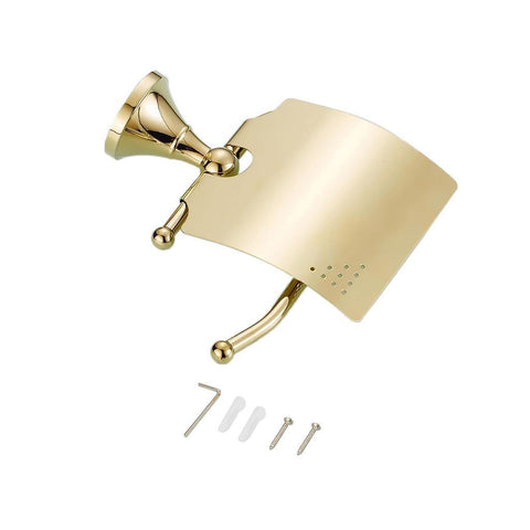 Home Bathroom Shower Cosmetic Holder Soap Toilet Paper Golden Roll Cover 130x120mm / 5.12x4.72 inch