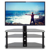 "Image of 5Rcom 3-Shelf Corner Floor TV Stand with Swivel Mount Height Adjustable 37""-70"" TVs, 3-in-1 Glass Entertainment Stand - FLJ CORPORATIONS"