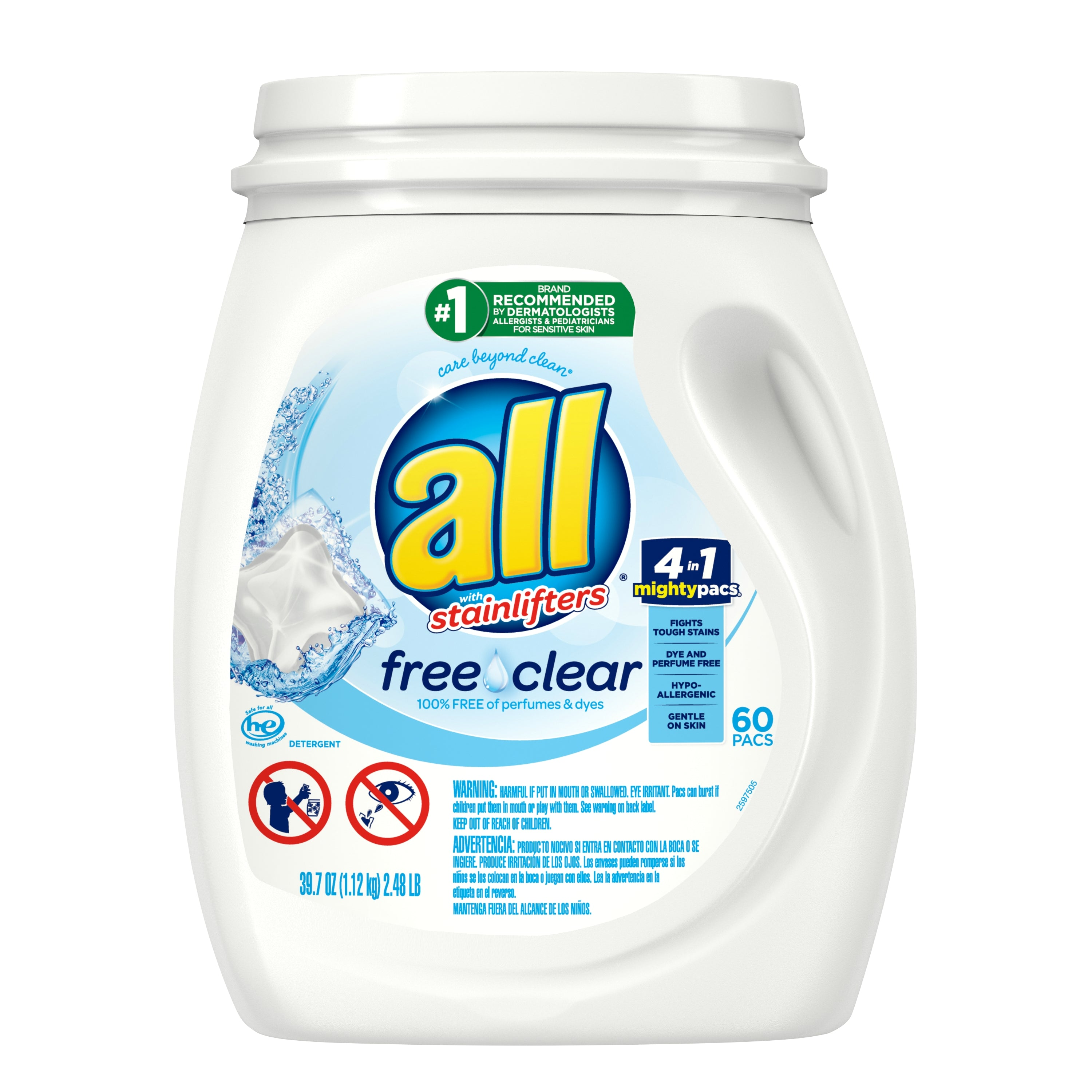 all Mighty Pacs Laundry Detergent, Free Clear for Sensitive Skin, Tub, 60 Count - FLJ CORPORATIONS