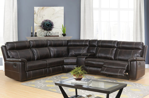 Devon & Claire Eve Brown Reclining Sectional w/ Console, 6 Piece