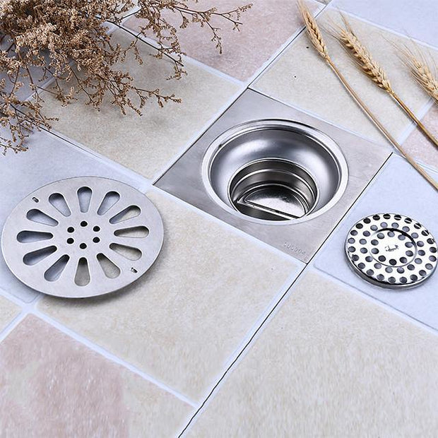 "Drain Creative Modern Stainless Steel 1pc - Bathroom / Hotel bath Floor Mounted 4"" Squared"