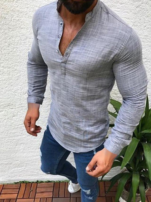 Men's Daily Wear Plus Size Shirt Solid Colored Long Sleeve Tops Linen Round Neck White Black Gray