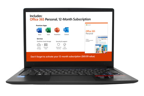 "EVOO 11.6"" Ultra Thin Laptop, FHD, Intel Dual Core, 32GB Storage, 4GB Memory, Mini HDMI, Front Camera, Windows 10 Home Black - Includes Office 365 Personal for One Year(A$69.99 Value)"