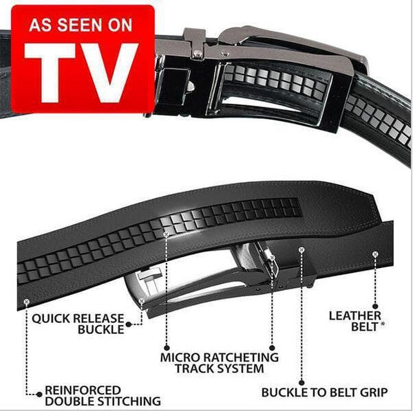 Costyle New Style Comfort Click Belt Men Automatic Adjustable Leather Belts As Seen On TV,Black - FLJ CORPORATIONS