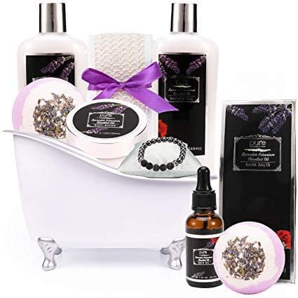 Lavender Geranium Spa Gift Basket. Bath and Body Spa Set. 11 Pieces including Bath Bombs, Shower Gel, Bath Oil, Lava Stone Bracelet. Best Relaxation Gift for Women - Birthday, Anniversary, Sympathy - FLJ CORPORATIONS