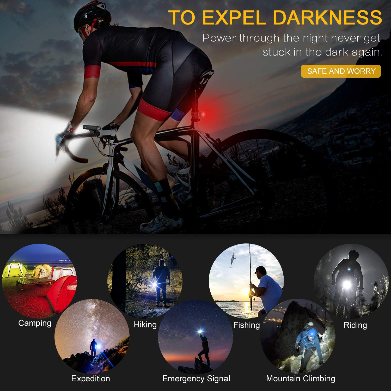 USB Rechargeable Bike Headlight & Taillight Set 3 LED Bike Light 1000 Lumen Super Bright Bicycle Light IPX5 Waterproof Powerful Safety Flashlight for Riding Hiking Camping Cycling Mountain St