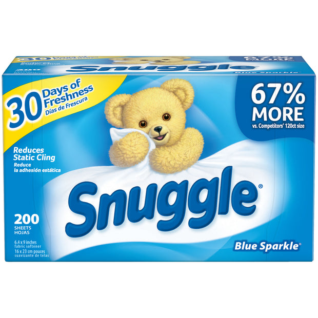Snuggle Fabric Softener Dryer Sheets, Blue Sparkle, 200 Count - FLJ CORPORATIONS