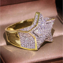Men's Ring Cubic Zirconia 1pc Gold Silver Golden 2 Brass Gold Plated Geometric Fashion Daily Holiday Jewelry Geometrical Star Cool