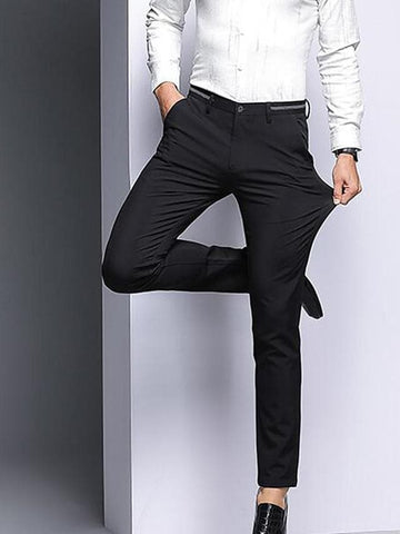 Men's Basic Daily Dress Pants Pants - Solid Colored High Waist Black Blue 29 / 30 / 31