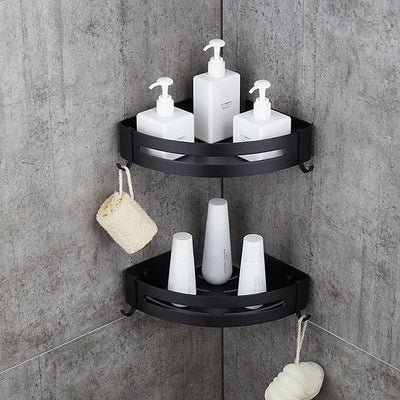 Bathroom Shelf Shelves Space Aluminum Brushed Nickel Wall Mount Triangle Shower Candy Storage Rack Bath Accessories Single Layer