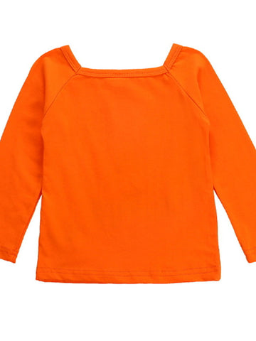 Baby Girls' Basic Daily Print / Halloween Long Sleeve Short Clothing Set Orange / Toddler
