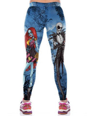 Women's Exaggerated Yoga Halloween Sweatpants Pants Skull Print Breathable Blue S M L XL