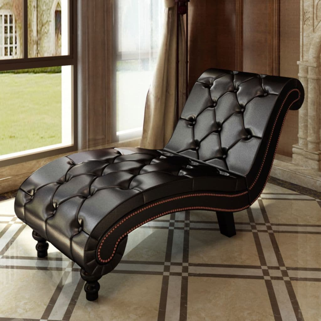 Chesterfield Brown Chaise Lounge Button Tufted - FLJ CORPORATIONS