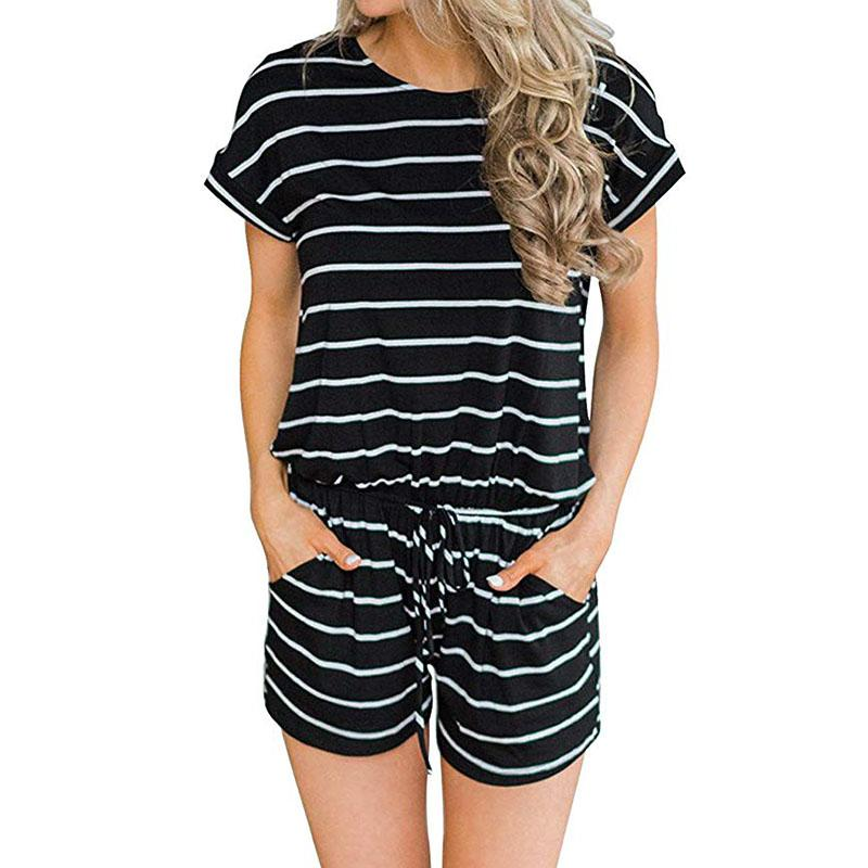Loose Stirped Short Rompers - FLJ CORPORATIONS