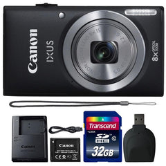 Canon Powershot Ixus 185 / ELPH 180 20MP Compact Digital Camera Black with 32GB Accessory Bundle - FLJ CORPORATIONS