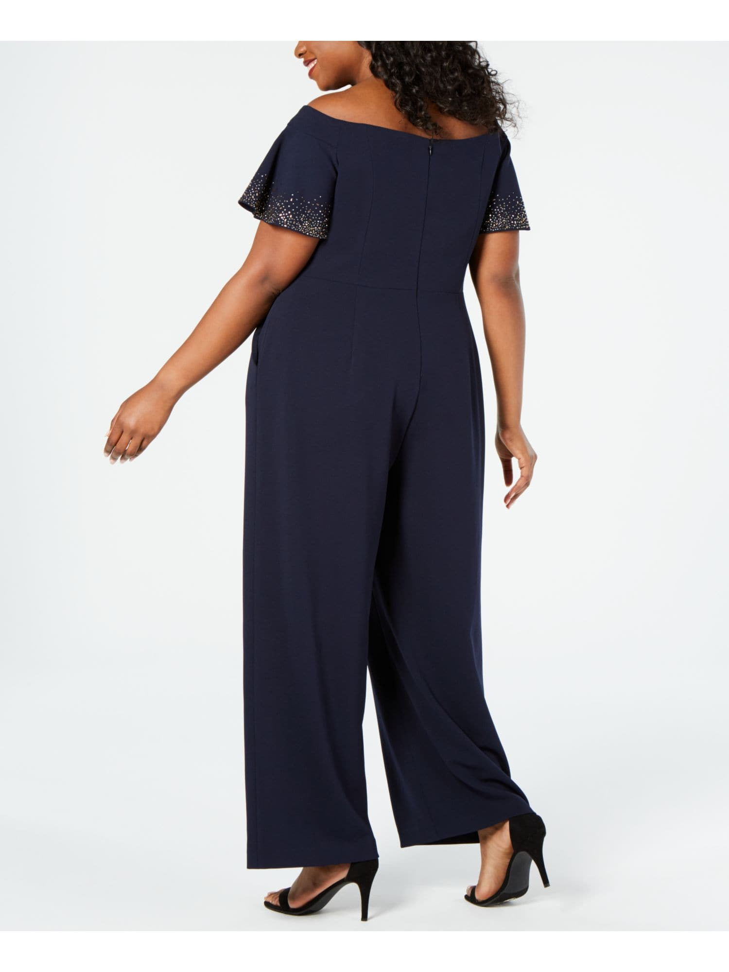 Navy Short Sleeve Off Shoulder Jumpsuit - FLJ CORPORATIONS