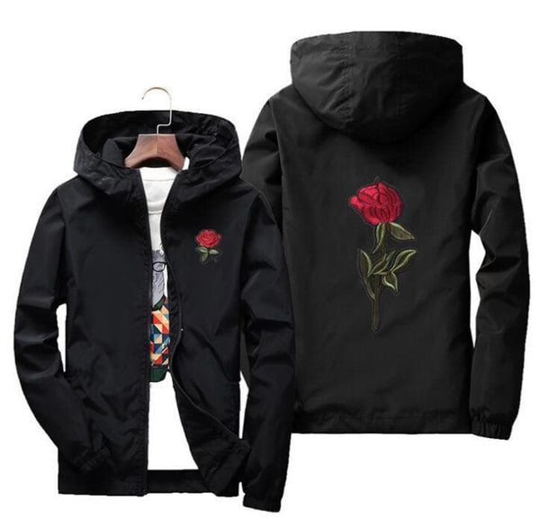 Rose Jacket Windbreaker Men And Women's Jacket New Fashion White And Black Roses Outwear Coat - FLJ CORPORATIONS