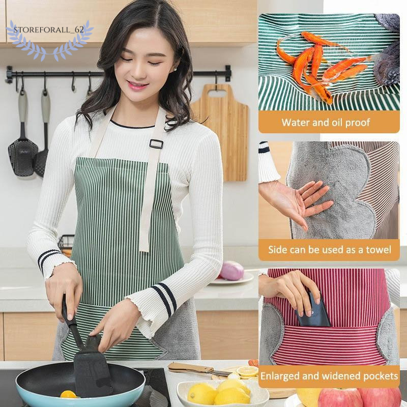Erasable Hand Waterproof Kitchen Apron Waist Female Work Gown Hand Towel Aprons -  Red - FLJ CORPORATIONS