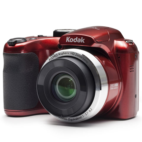 KODAK PIXPRO AZ252 Bridge Digital Camera - 16 MP - 25X Optical Zoom - HD 720p Video (Red) - FLJ CORPORATIONS