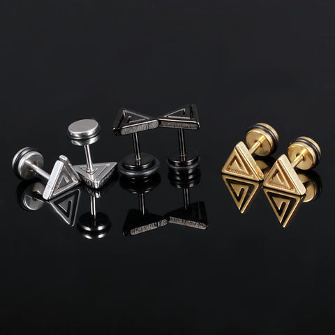 Men's Stud Earrings Classic Precious Punk Baroque Trendy Rock Stainless Steel Earrings Jewelry Gold / Black / Silver For Party Carnival Street Club Bar 1 Pair - FLJ CORPORATIONS