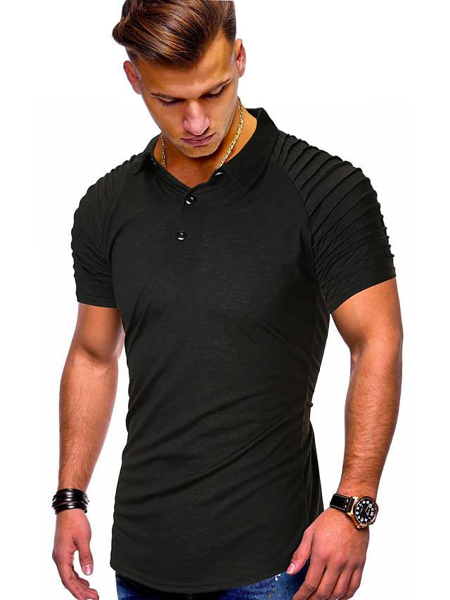 Men's Daily Polo Solid Colored Short Sleeve Tops Cotton V Neck Black / Sports