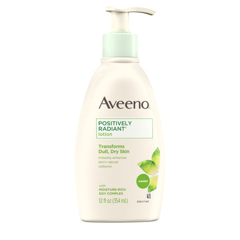 Aveeno Positively Radiant Daily Moisturizing Body Lotion with Moisture-Rich Soy Complex, Skin Brightening & Nourishing Hypoallergenic Lotion for Everyday Dry Skin Care, 12 fl. oz - FLJ CORPORATIONS