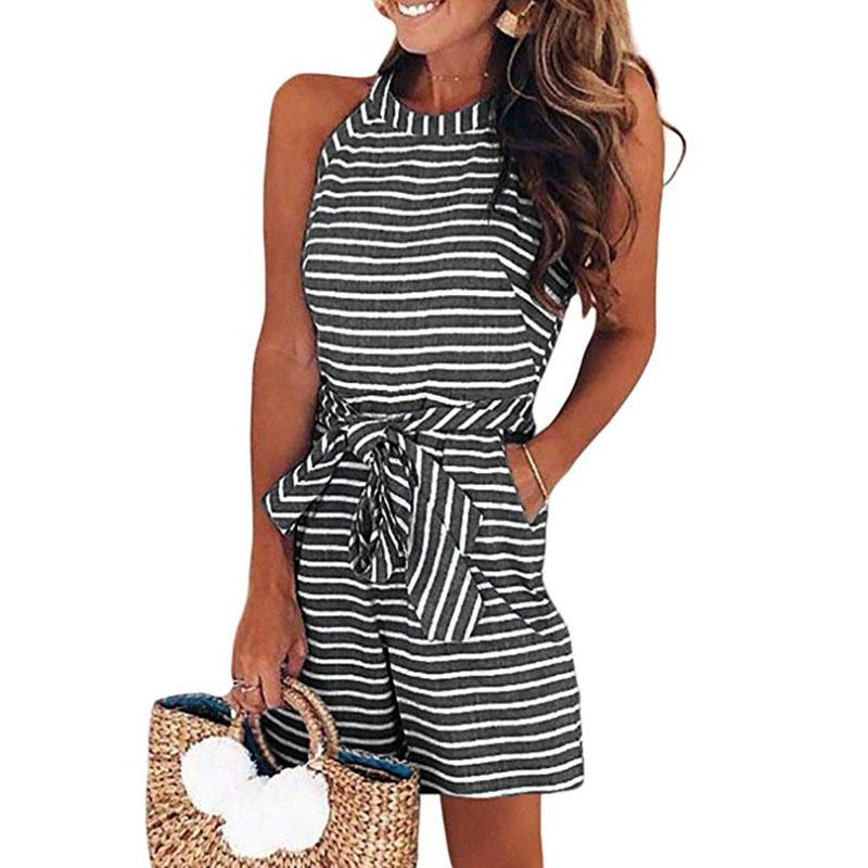 High Neck Sleeveless Belted Rompers - FLJ CORPORATIONS
