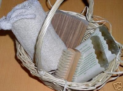 NATURAL BATH GIFT BASKET Handmade Soap Dish Loofah Set - FLJ CORPORATIONS